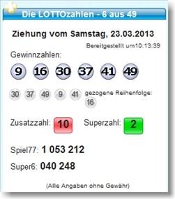 Lottozahlen 6 aus 49